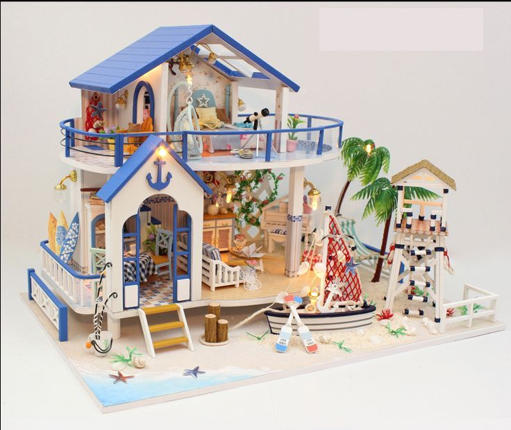 Doll House With Furnitures Wooden House Countryard Dweling