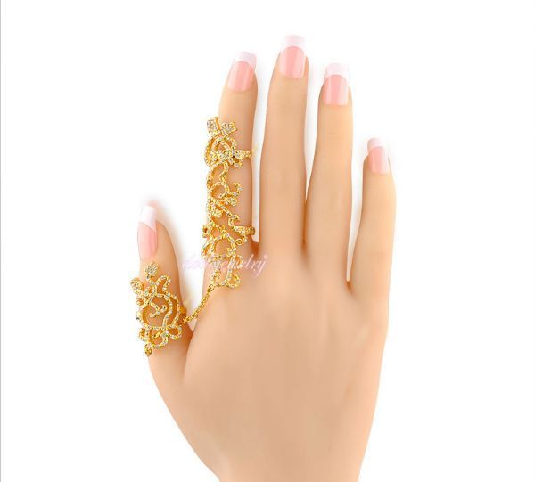 Two Finger Rings Tiny Crystal Gold Plated Pakistan no 1 online