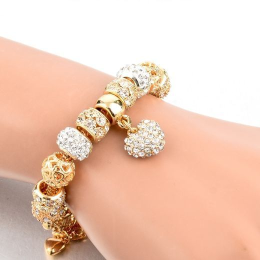 Gold Plated Crystal Heart Charm Bracelets & Bangles for Women